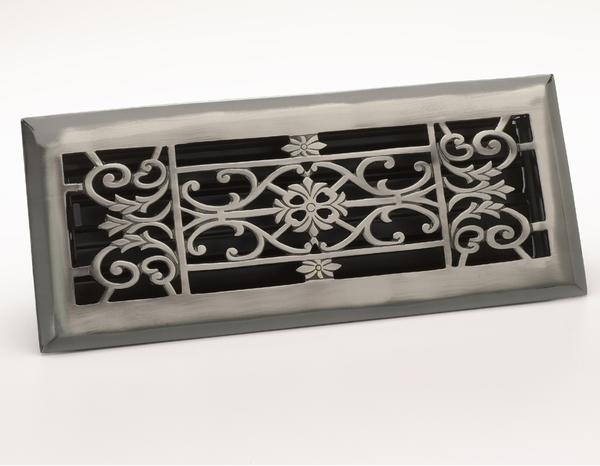 Decorative Floor Register - Antique Pewter