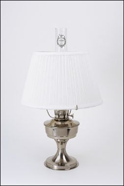 Stainless Heritage Table Lamp & White Shade