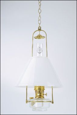 Tilt Frame Hanging Oil Lamp & Opal Shade